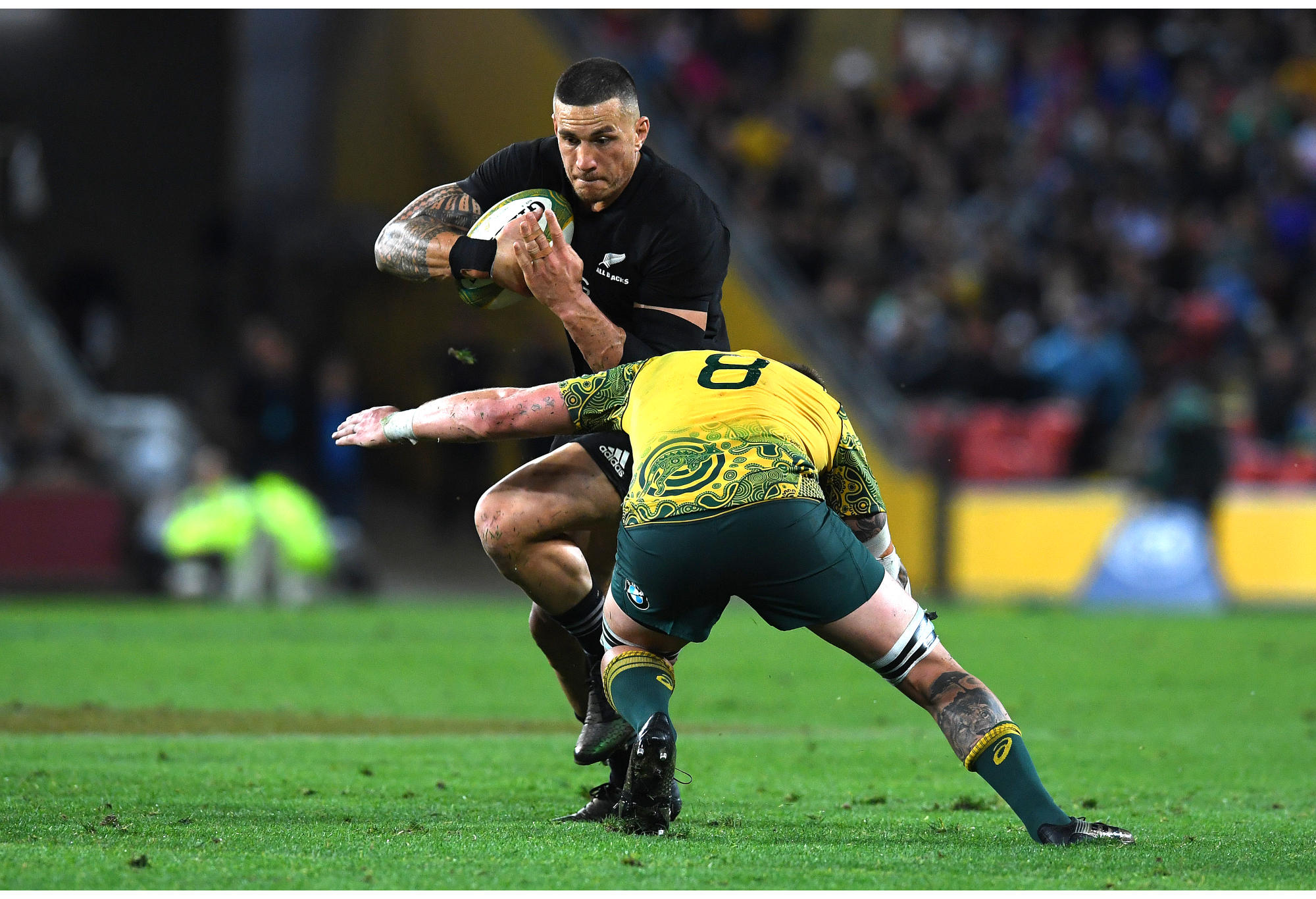 Sonny Bill Williams of the All Blacks is tackled by Sean McMahon of the Wallabies during the third Bledisloe Cup match against the Wallabies.