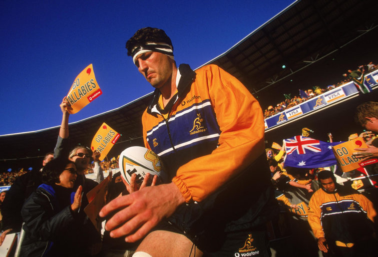 John Eales, Australian captain, walks onto the field for the Wallabies