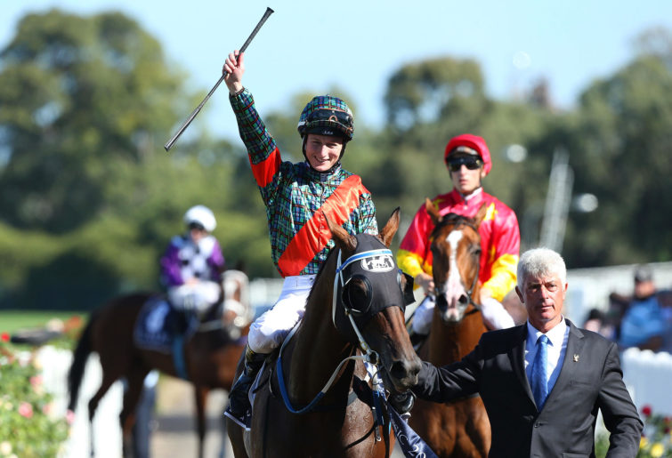 Linda Meech celebrates after winning The Coolmore Classic in 2015