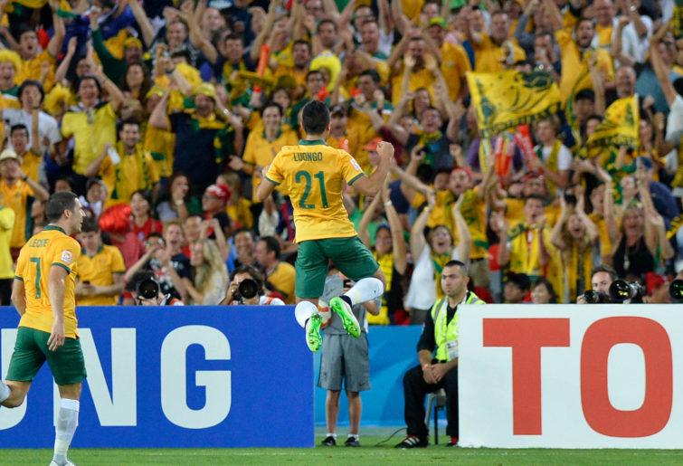 Australian midfielder Massimo Luongo celebrates as he scores the opening goal against Korea Republic.