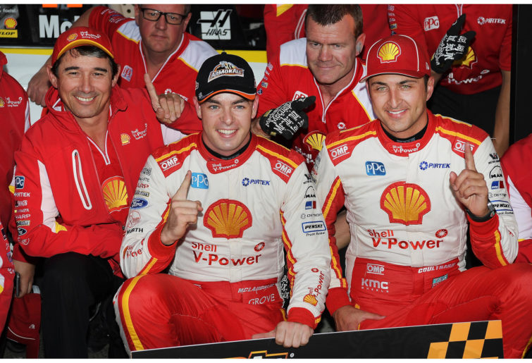 Drivers Scott McLaughlin and Fabian Coulthard of the Shell V-Power Racing Team.