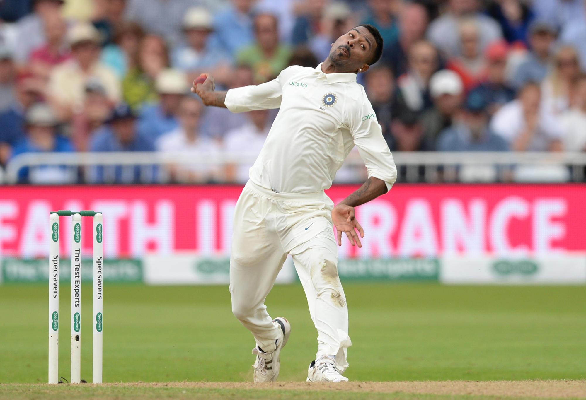 Hardik Pandya bowling for India.
