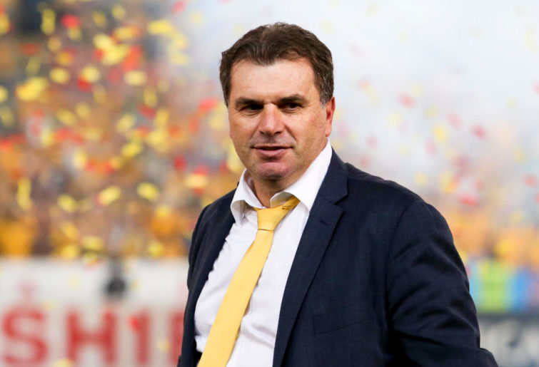 Head coach of the Australian football team, Ange Postecoglou celebrates after the 2015 Asia Cup Final win against South Korea.