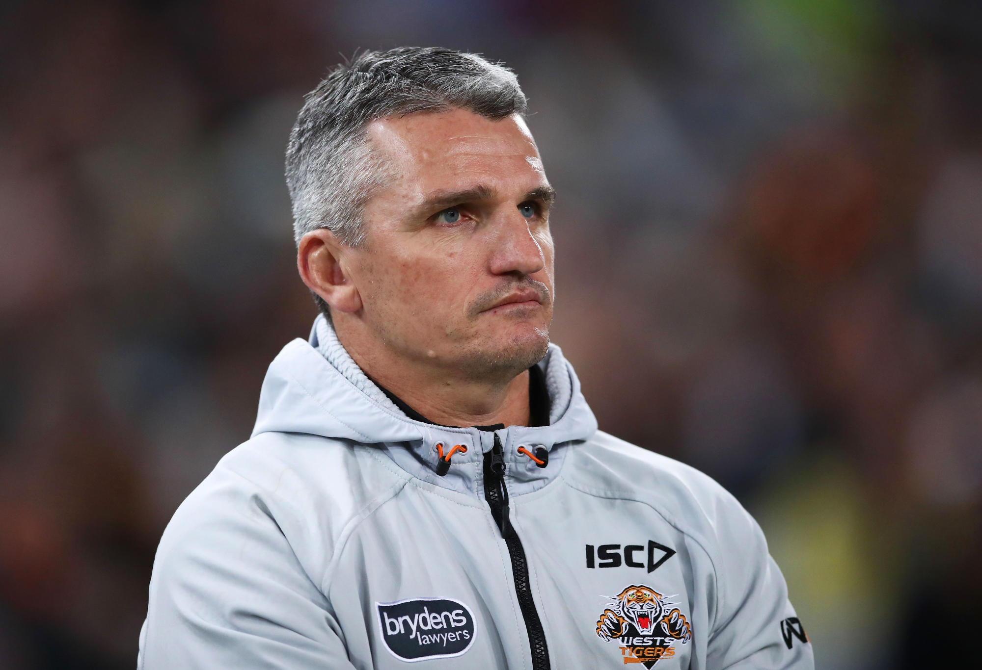 Ivan Cleary in a Wests Tigers jacket.