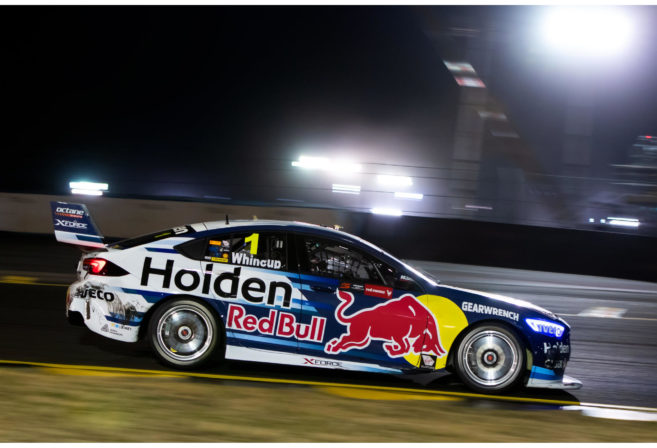 Jamie Whincup in the Red Bull Holden Racing Team at the Sydney SuperNight 300.