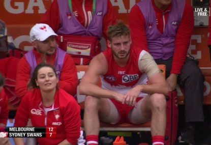 Melbourne Demons vs Sydney Swans: Fears Alex Johnson has suffered another cruel ACL injury