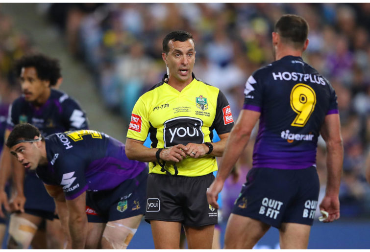 Referee Matt Cecchin during the 2017 NRL Grand Final match between the Melbourne Storm and the North Queensland Cowboys.