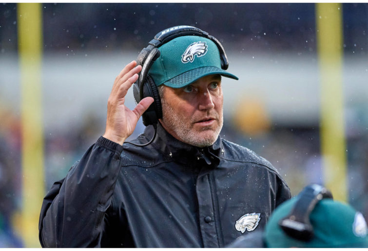 Philadelphia Eagles offensive coordinator Frank Reich looks on during the NFL football game against the San Francisco 49ers.