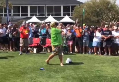 John Daly tees off on a beer can...then drinks it