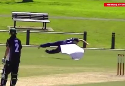 Cricketers comical fail in the field