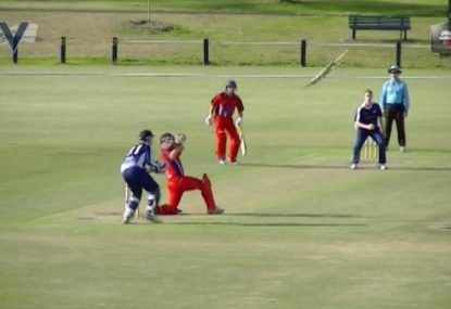 Cricketer throws bat into orbit, still goes for 4!