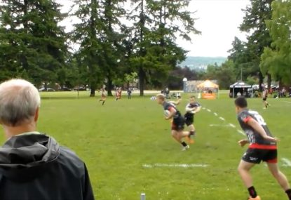Rugby player miraculously fights off the defence and the sideline for try