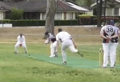 Classic first ball of the new season in park cricket