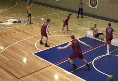 Globetrotters-esque play with outrageous sit down pass-to-dunk combo
