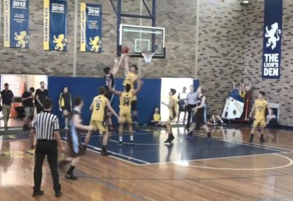 Get that out of here! Player slams blocked shot