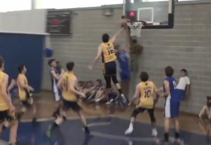 Defender does his best Lebron impression with awesome chase down block