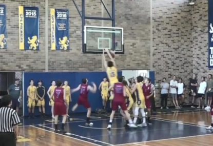 Crowd goes wild after bounce pass-assisted slam dunk!