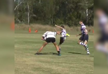 Junior rugby player CRUMPLES hapless defender