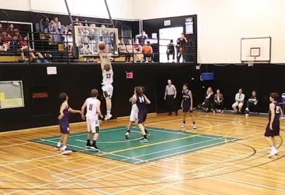 High school prodigy jams near-impossible alley-oop