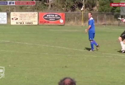 Cheeky header over the goalie leads to an even cheekier push