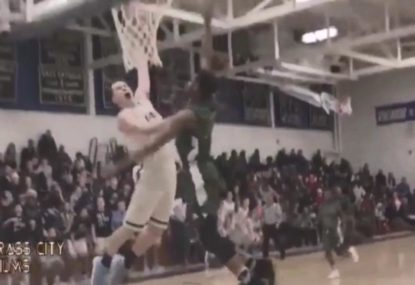 High schooler's amazing dunk followed by epic celebration