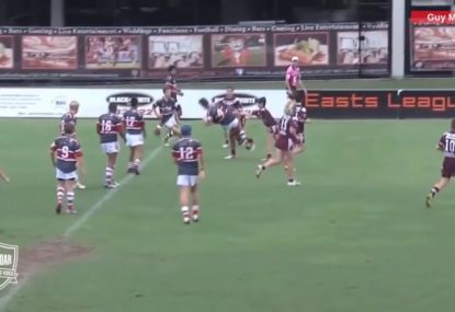 Back gets picked up and flattened in a textbook tackle