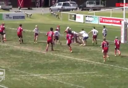 Player completely butchers 5 man overlap, gets picked up driven into the dirt!