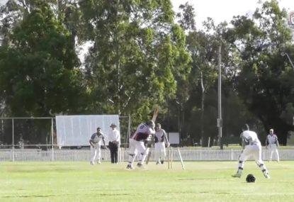 Batsman batting way outside leg gets stump cartwheeled