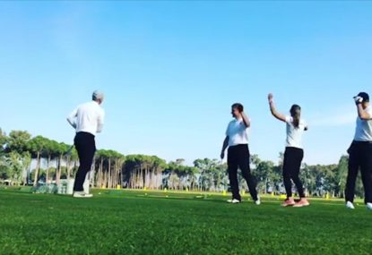 Four golfers team up for phenomenal trick chip
