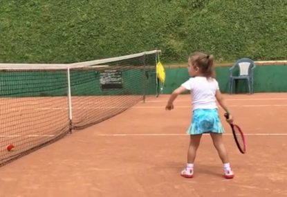 This 4 year old is better at tennis than you!