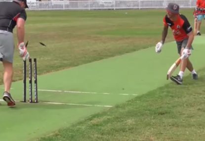 Batsman stumped by keeper standing BACK