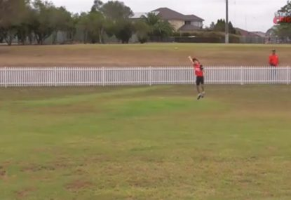 Ball hilariously bounces OVER young fielder