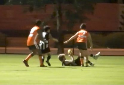 Crafty kid pulls off rare goal while laying on his back!