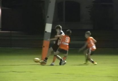Young gun somehow gets the lightest of touches through for goal