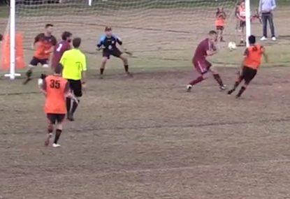 Fluffed shot sees striker miss in front of open goal