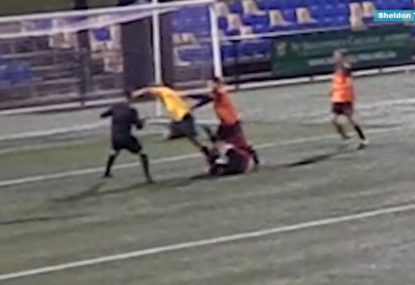 Incredible brain explosion sees amateur footballer sent off