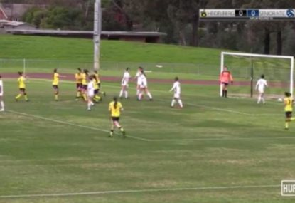 Shot deflects off defender's head for unlucky own goal