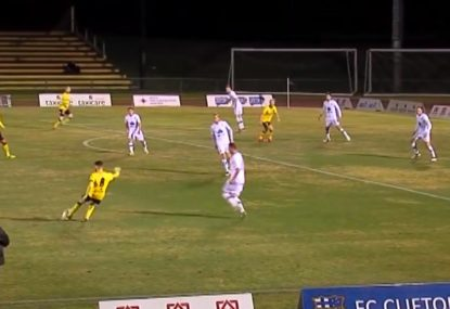 Unlikely goal tripping backwards stumps the keeper