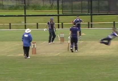 Superman bowler flies to silly mid-on to take a blinder!