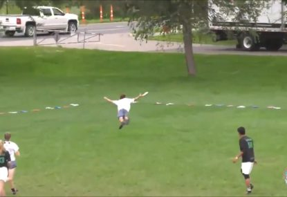 Hands down the greatest Ultimate Frisbee catch you'll see this year