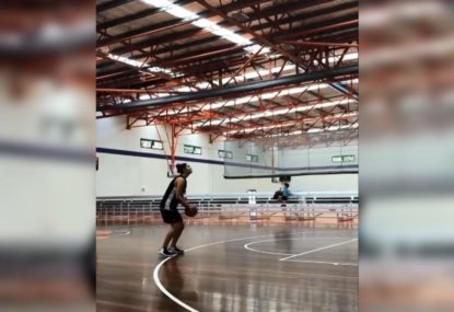 Awesome highball 3-pointer that nearly skims the roof