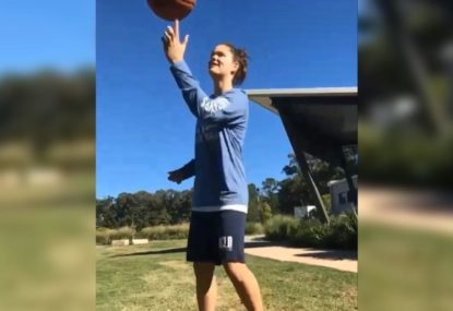 Outrageous between-the-legs spinning ball trick