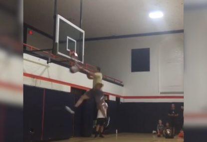 Kids absolutely lose over broken hoop after huge dunk!