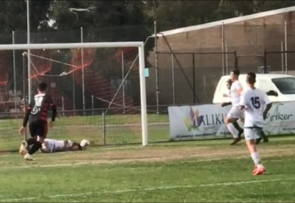 Local footballer produces the most obscure desperation save you'll ever see