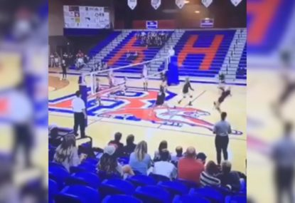 Volleyball player cops vicious spike to face, still has last laugh