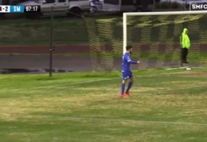 Teammate can't believe it after botched pass ends scoring chance