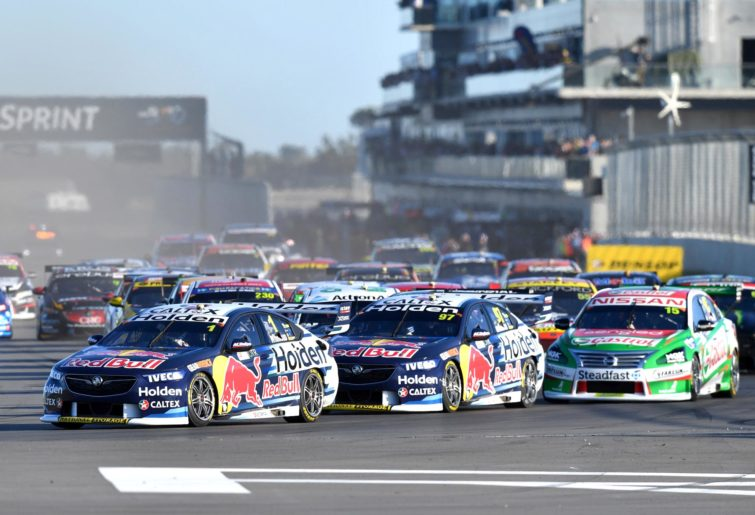 Jamie Whincup leads the field away at The Bend.