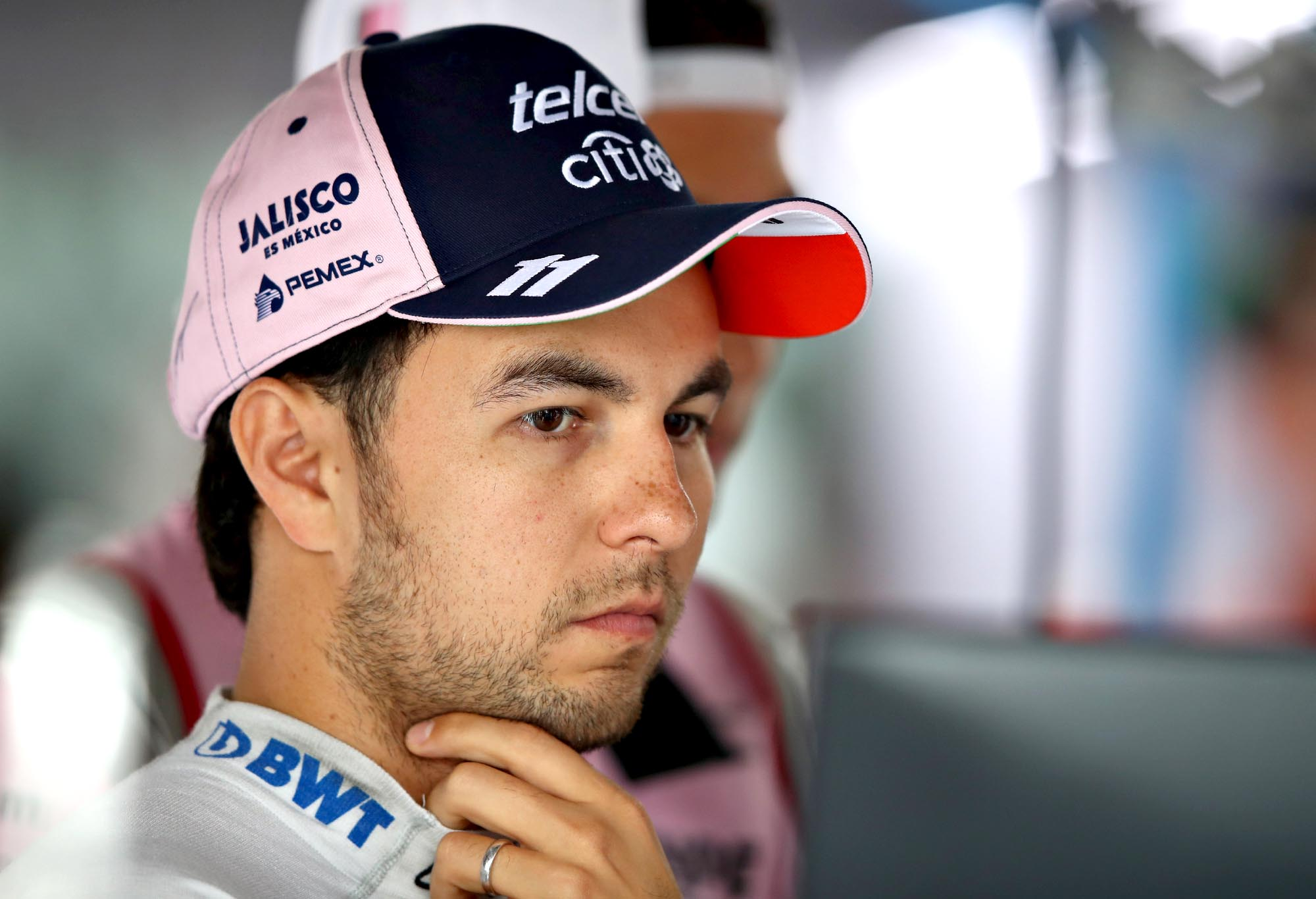 Sergio Perez of Mexico and Force India looks on in the garage during final practice for the Formula One Grand Prix of Germany at Hockenheimring on July 21, 2018 in Hockenheim, Germany. (Photo by Mark Thompson/Getty Images)