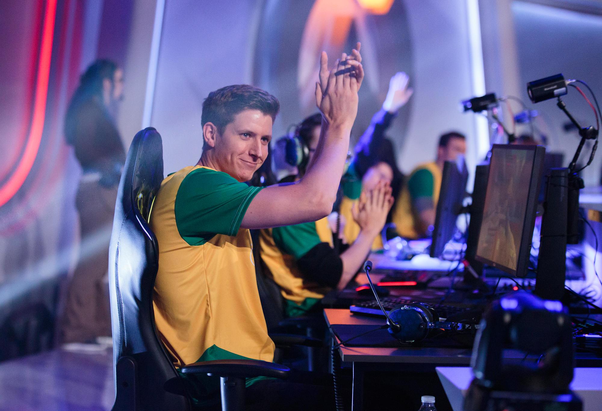 Custa (Scott Kennedy) of Australia's Overwatch World Cup team applauds the supporters following a win.