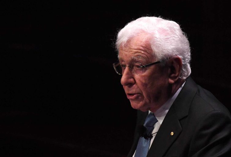 Frank Lowy gives a speech